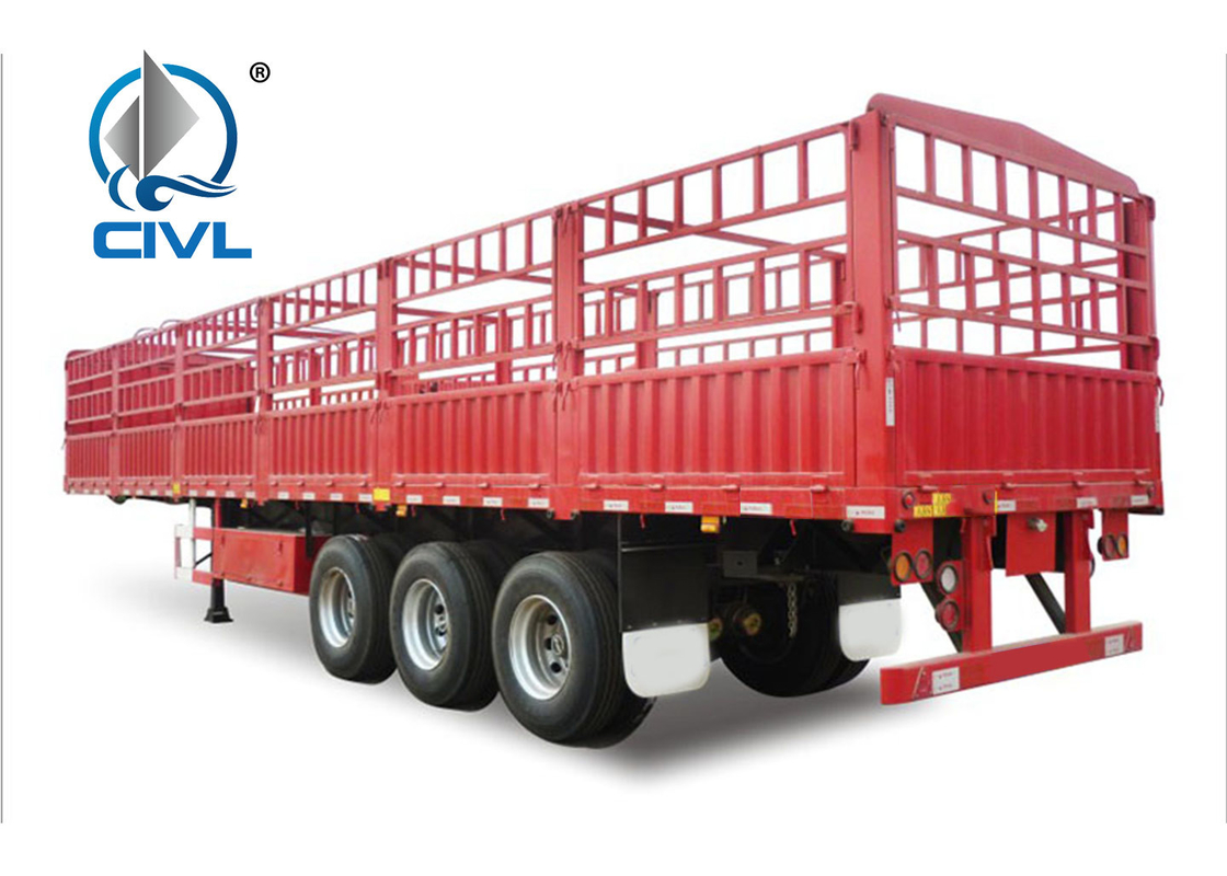 Red Cargo Semi Trailer Trucks Semitrailer Series 13m Three Axle Cargo Semitrailer